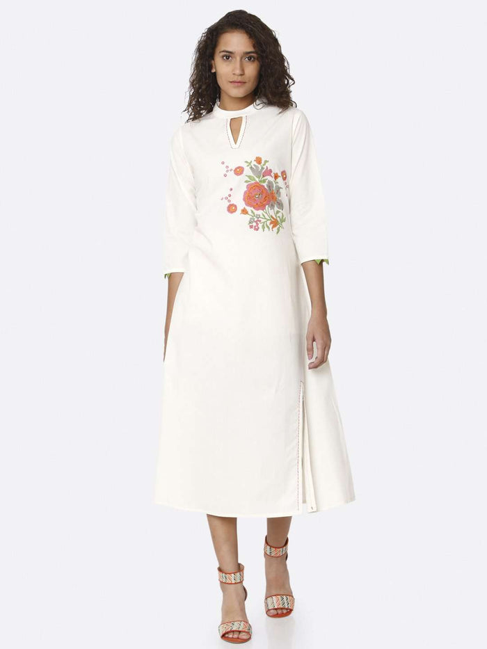 Front Side White Printed Cotton A-Line Dress