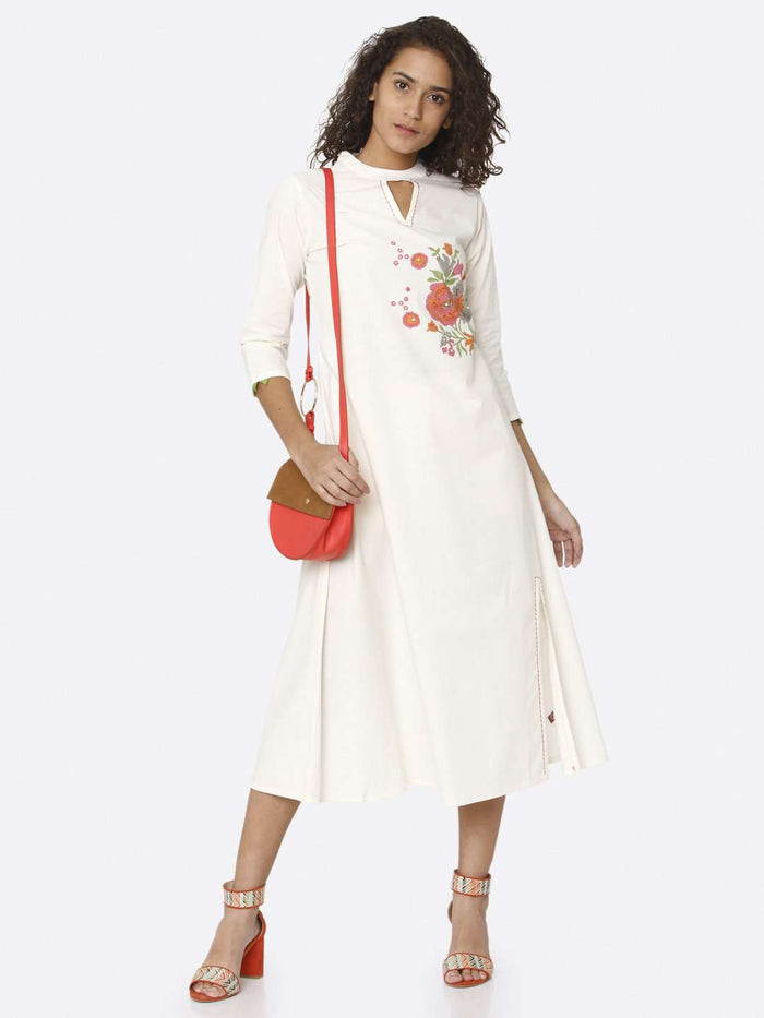 Casual Wear White Printed Cotton A-Line Dress