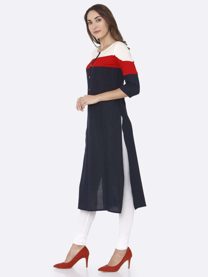 Left Side Navy Blue Solid Rayon Straight Kurti With White Palazzo Pant
