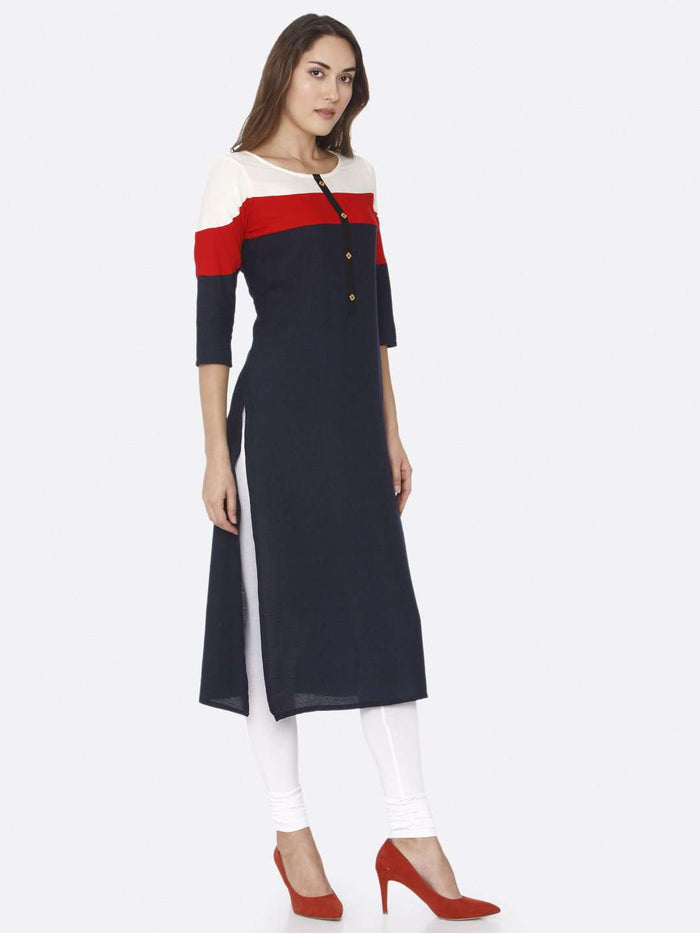 Right Side Navy Blue Solid Rayon Straight Kurti With White Palazzo Pant
