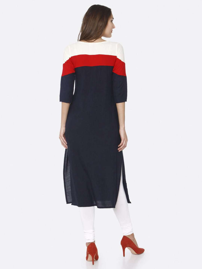 Back Side Navy Blue Solid Rayon Straight Kurti With White Palazzo Pant