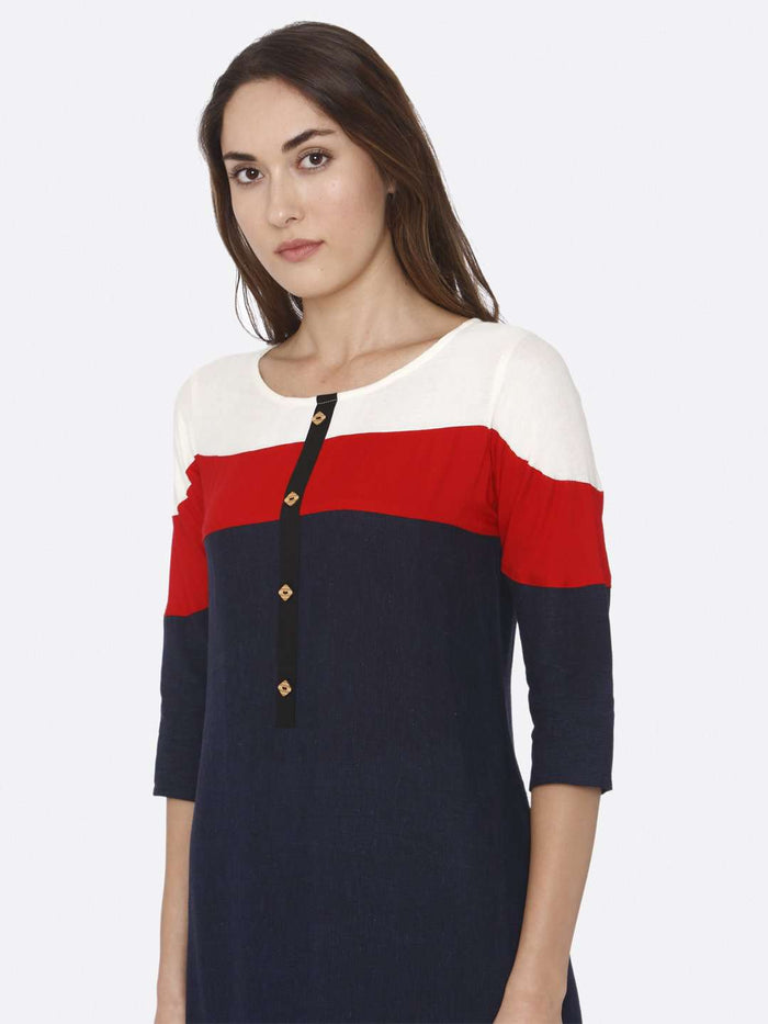 Left Side Navy Blue Solid Rayon Straight Kurti