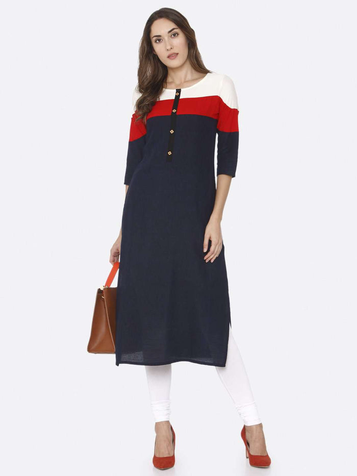 Front Side Casual Navy Blue Solid Rayon Straight Kurti With White Palazzo Pant