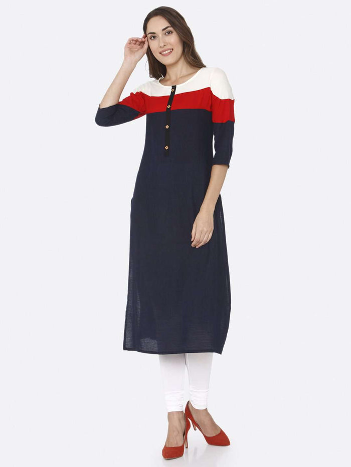 Front Side Navy Blue Solid Rayon Straight Kurti With White Palazzo Pant