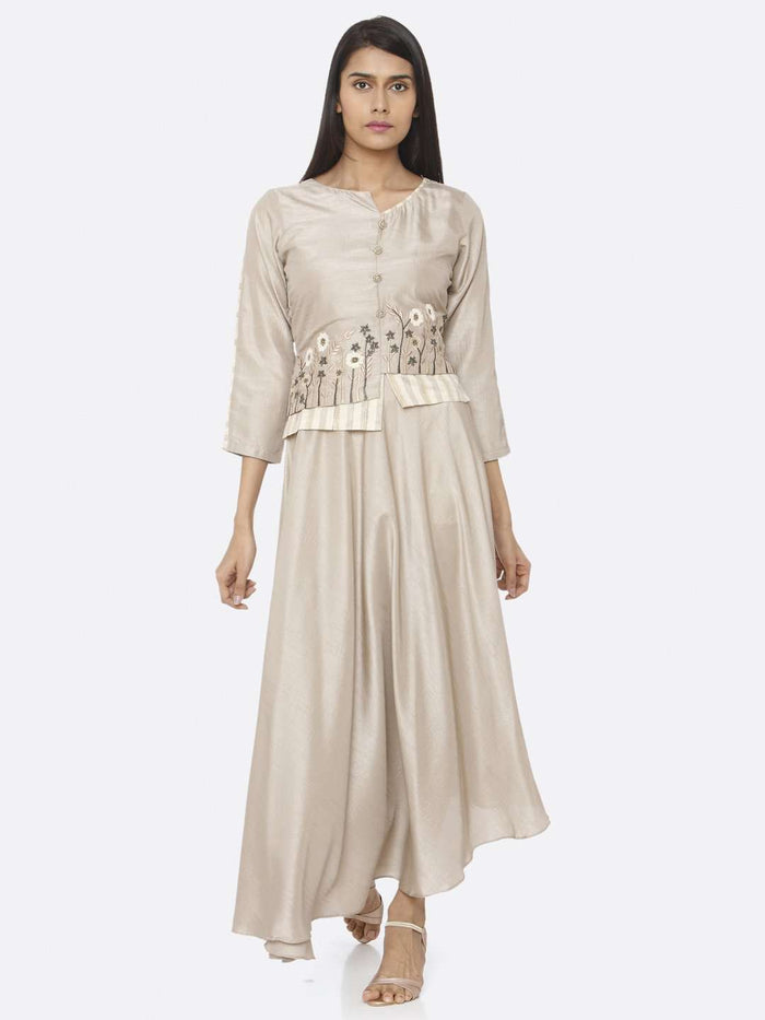 Front Side Beige Embroidered Silk Flared Maxi Dress