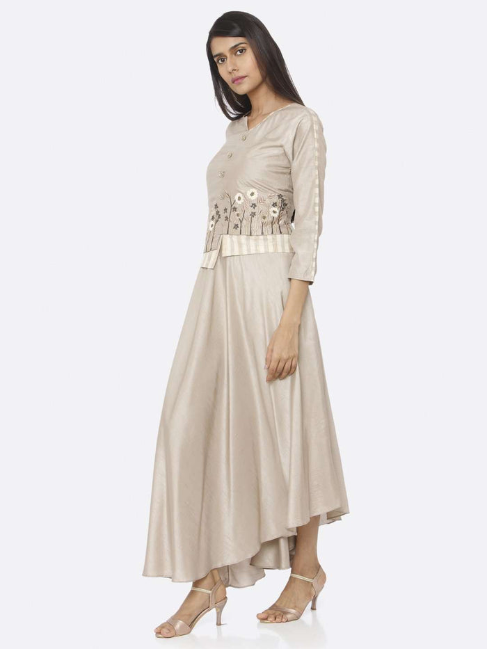 Left Side Beige Embroidered Silk Flared Maxi Dress