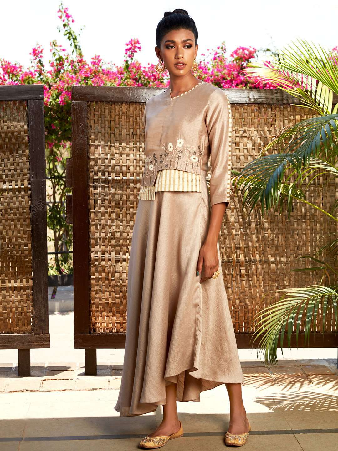 Beige Embroidered Silk Flared Maxi Dress