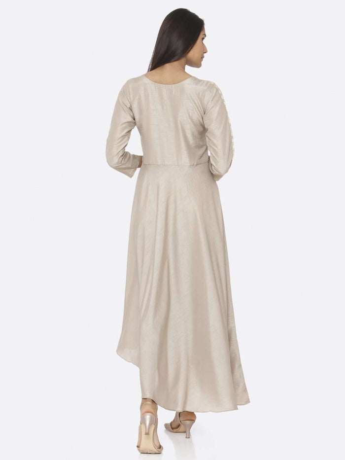 Back Side Beige Embroidered Silk Flared Maxi Dress