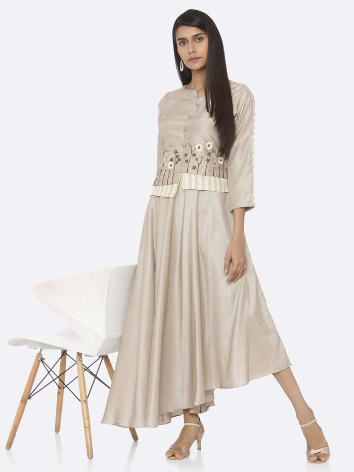 Casual Beige Embroidered Silk Flared Maxi Dress