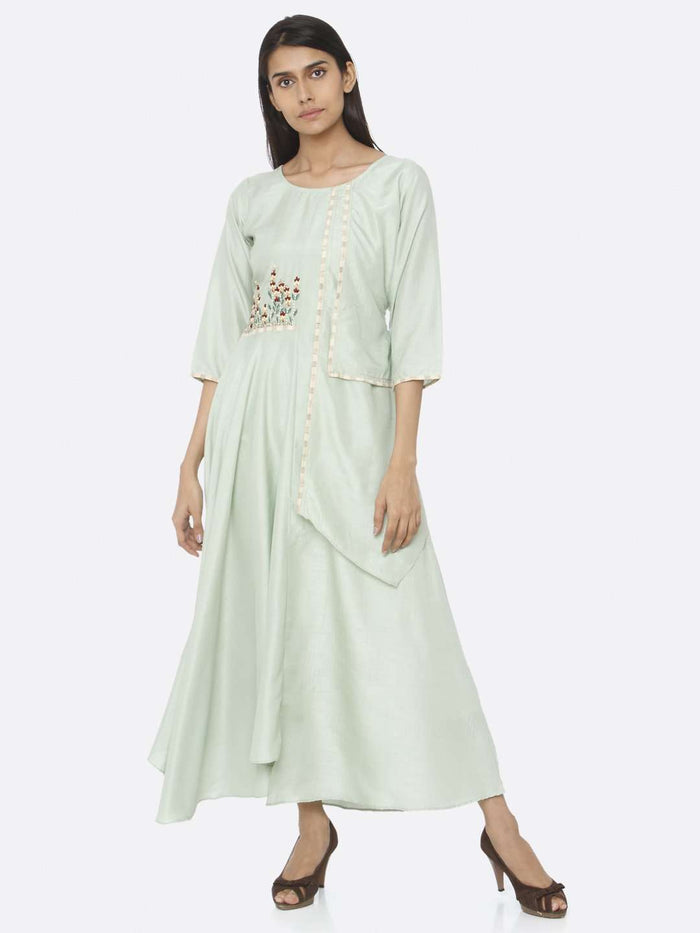 Green Embroidered Silk A-Line Maxi Dress