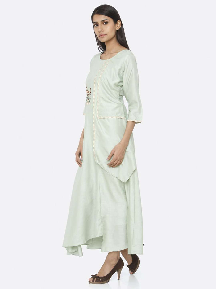 Left Side Green Embroidered Silk A-Line Maxi Dress
