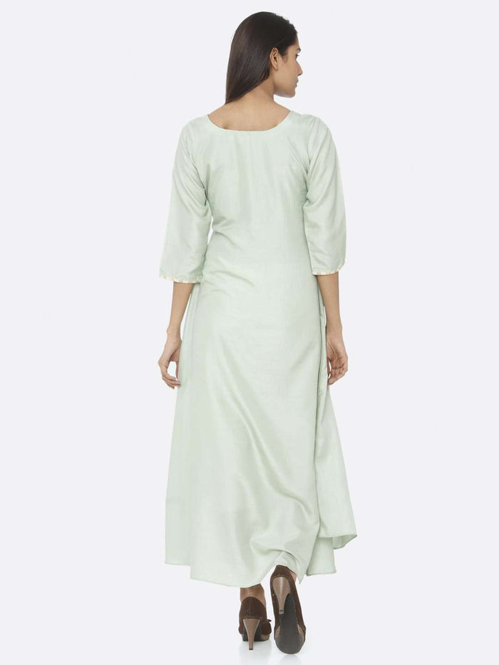 Back Side Green Embroidered Silk A-Line Maxi Dress