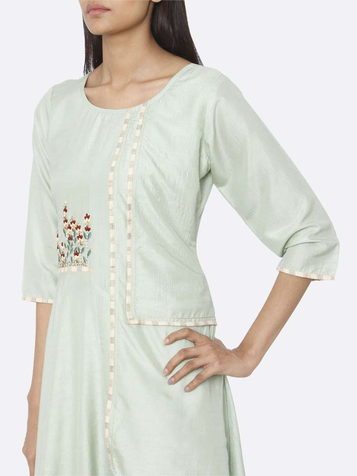 Left Side Embroidered Silk A-Line Dress With Green Color