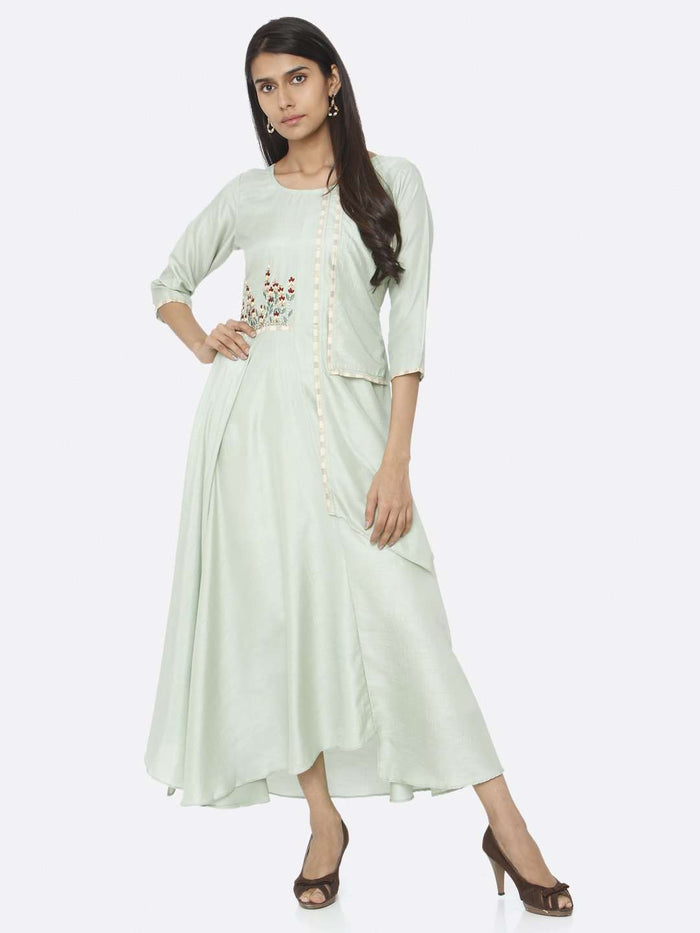 Casual Embroidered Silk A-Line Maxi Dress With Green Color