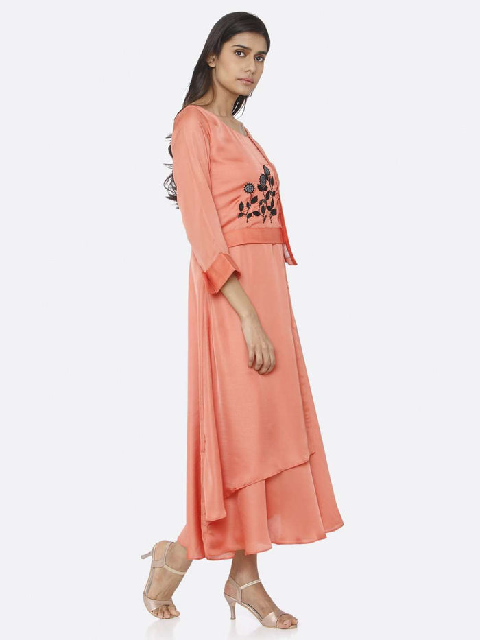 Right Side Coral Peach Embroidered Satin A-Line Maxi Dress