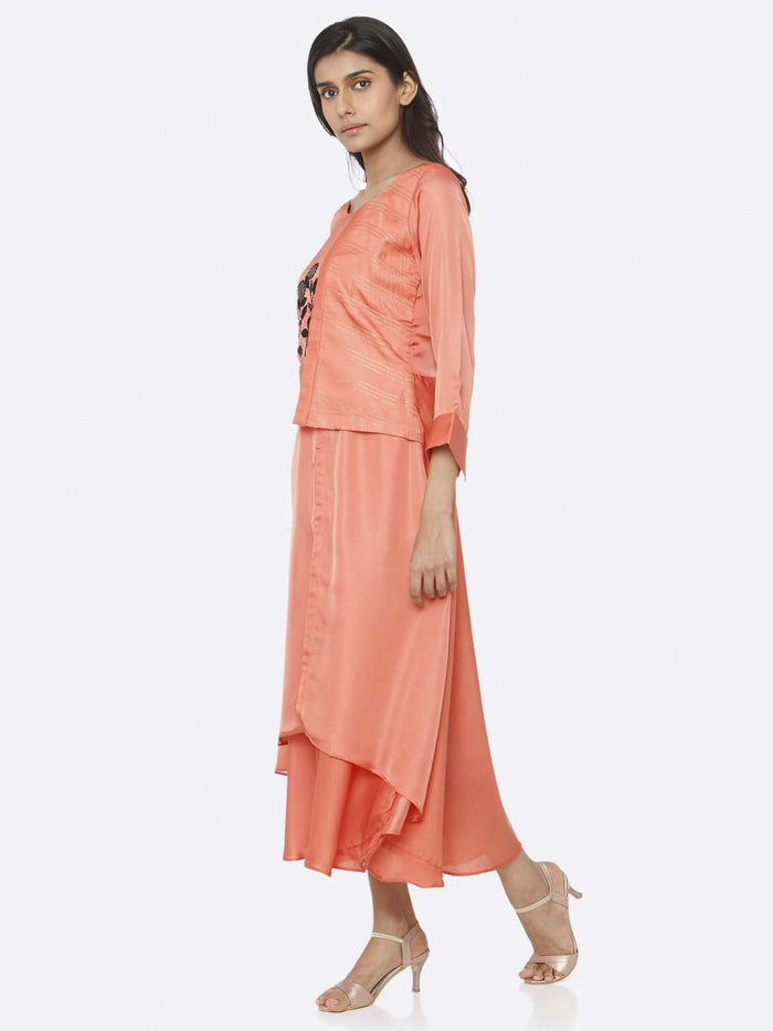 Left Side Coral Peach Embroidered Satin A-Line Maxi Dress