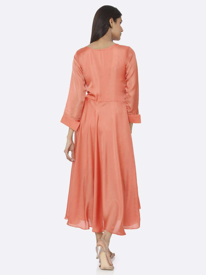 Back Side Coral Peach Embroidered Satin A-Line Maxi Dress
