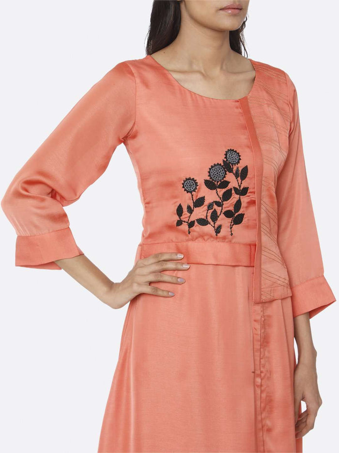 Right Side Embroidered Satin A-Line Maxi Dress With Coral Peach Color