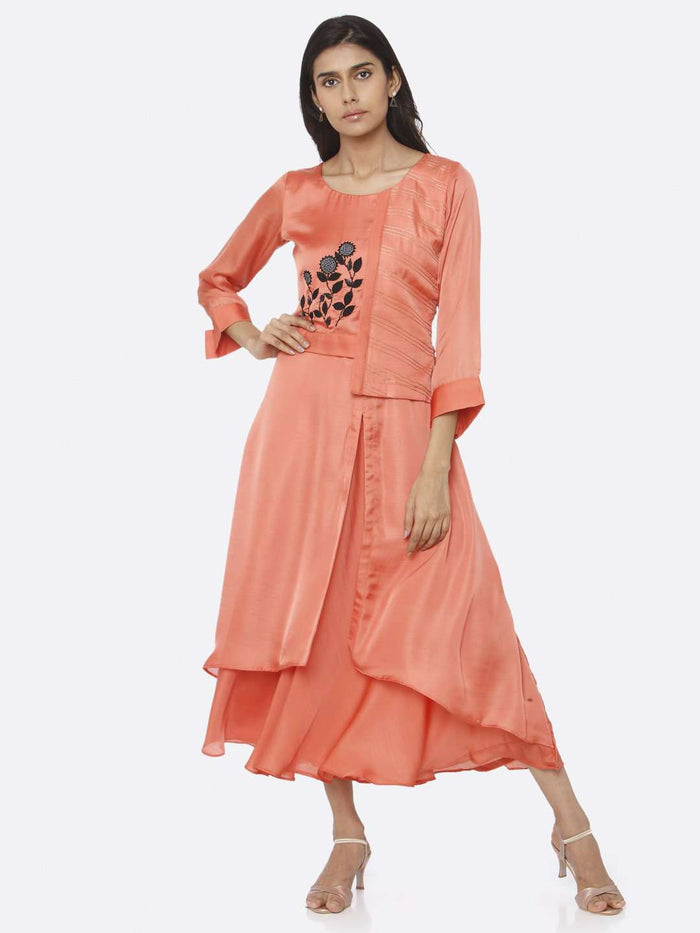 Front Side Coral Peach Embroidered Satin A-Line Maxi Dress