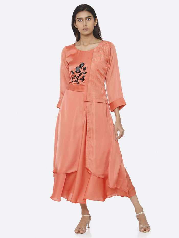 Front Side Embroidered Satin A-Line Maxi Dress With Coral Peach Color