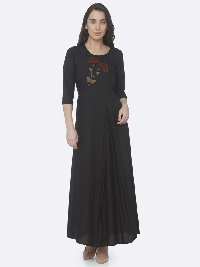 Black Embellished Rayon A-Line Maxi Dress