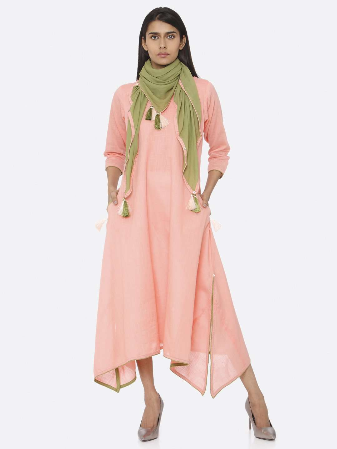 Coral Peach Solid Cotton Slub A-Line Dress