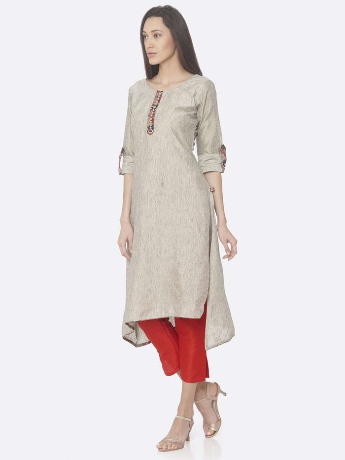 Grey Solid Cotton A-Line Kurta Set
