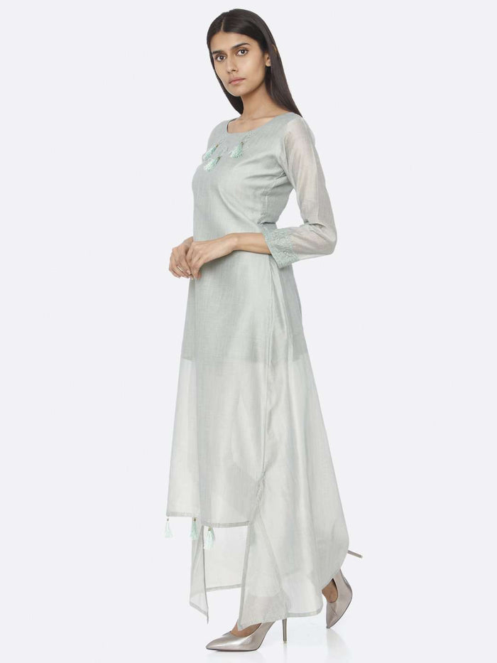 Left Side Sea Green Solid Chanderi Cotton A-Line Dress
