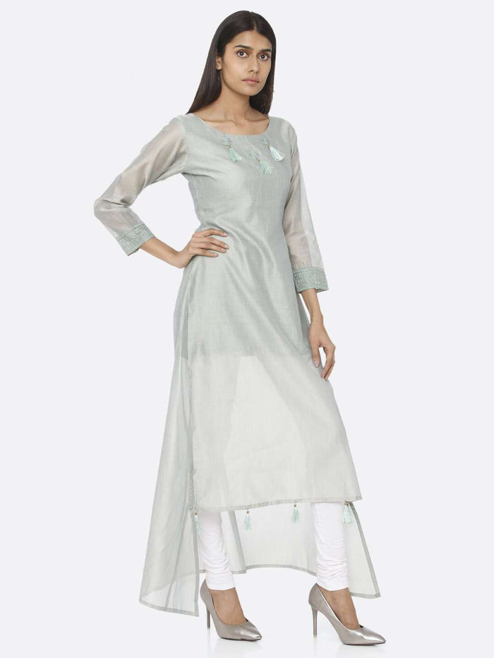 Right Side Sea Green Solid Chanderi Cotton A-Line Dress