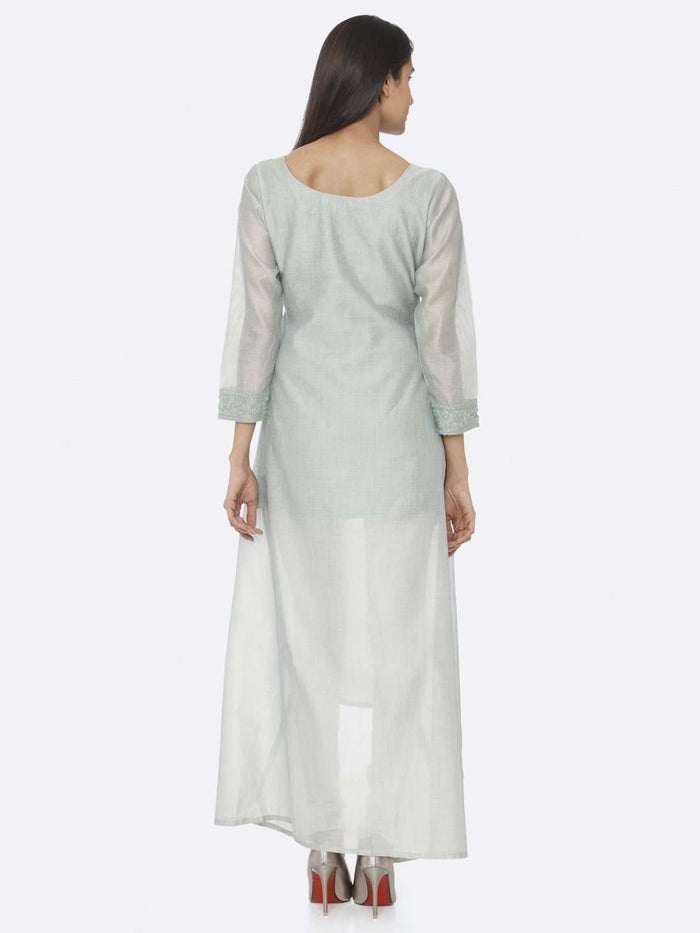 Back Side Sea Green Solid Chanderi Cotton A-Line Dress