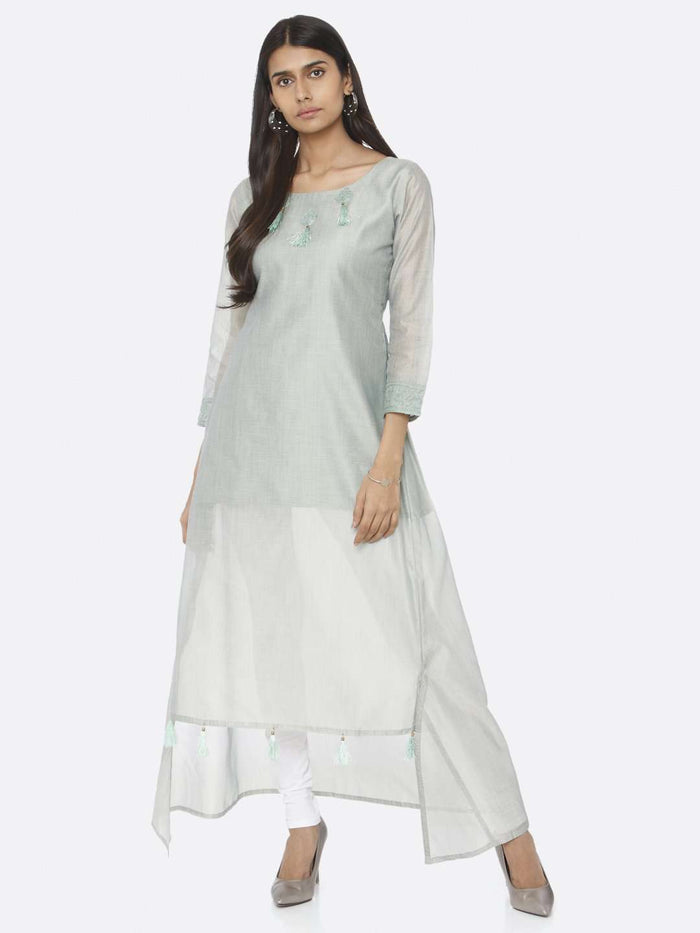 Casual Wear Sea Green Solid Chanderi Cotton A-Line Dress