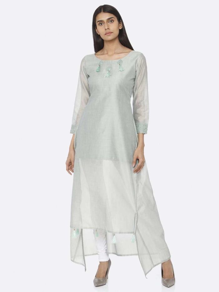 Front Side Sea Green Solid Chanderi Cotton A-Line Dress