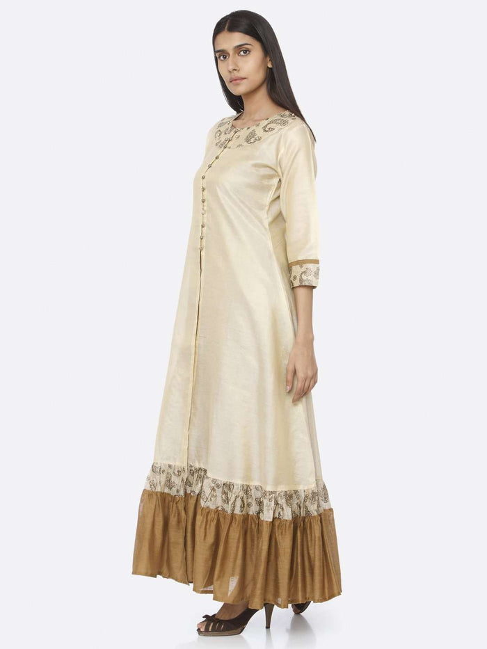 Left Side Printed Raw Silk A-Line Maxi Dress With Beige Color