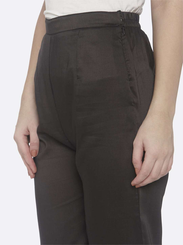 Left Side Embroidered Chiffon A-Line Pant With Rust Color