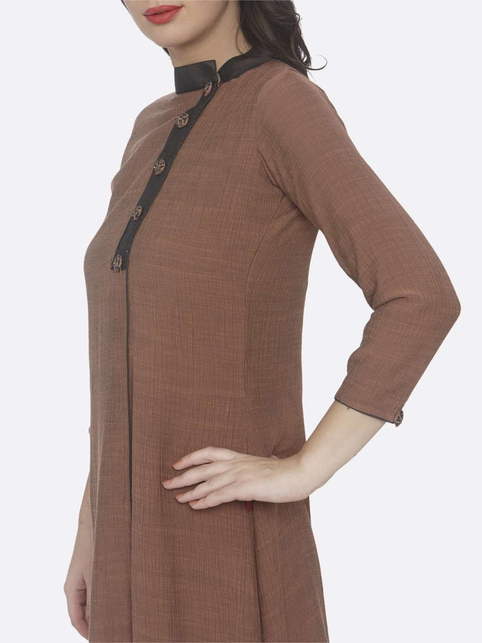 Left Side Embroidered Chiffon A-Line Dress With Rust Color