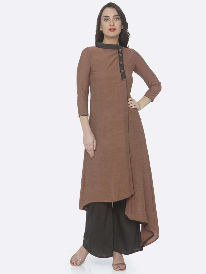 Rust Embellished Chiffon A-Line Dress With Palazzo
