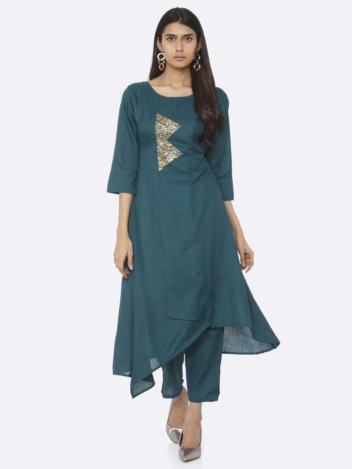 Teal Embellished Cotton A-Line Kurta Set