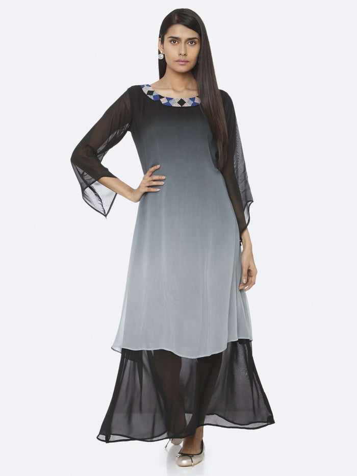 Causal Black Embellished Georgette A-Line Maxi Dress