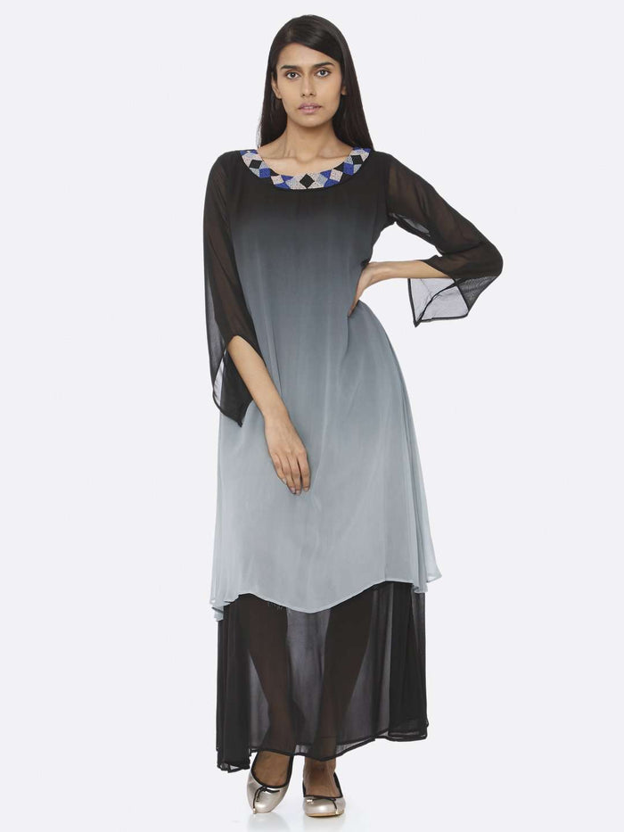 Front Side Black Embellished Georgette A-Line Maxi Dress