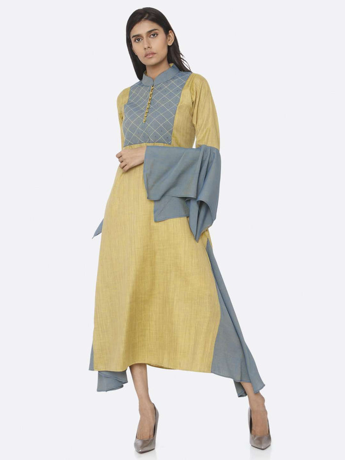 Left Side Mustard Embellished Cotton A-Line Dress