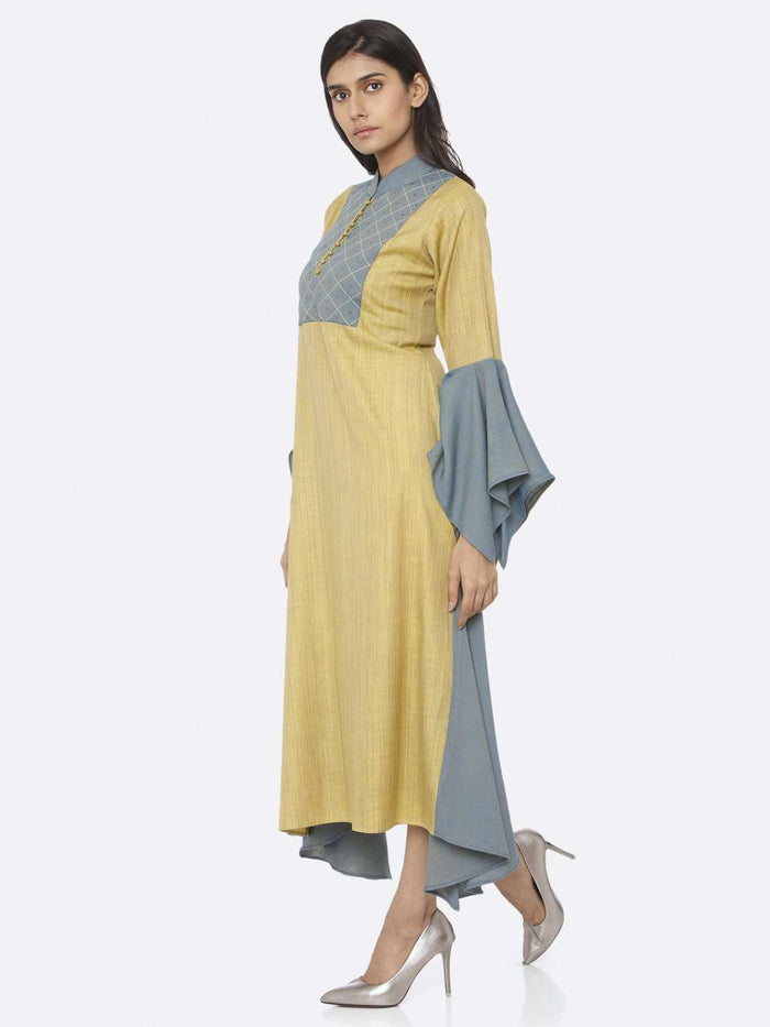 Left Side Embellished Cotton A-Line Dress With Mustard Color