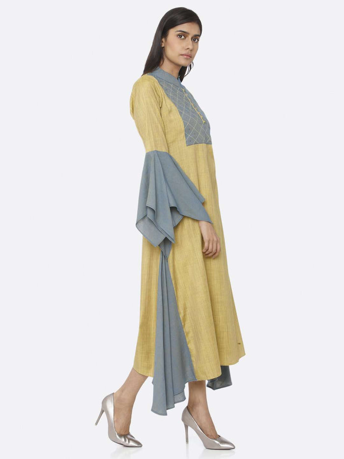 Right Side Mustard Embellished Cotton A-Line Dress