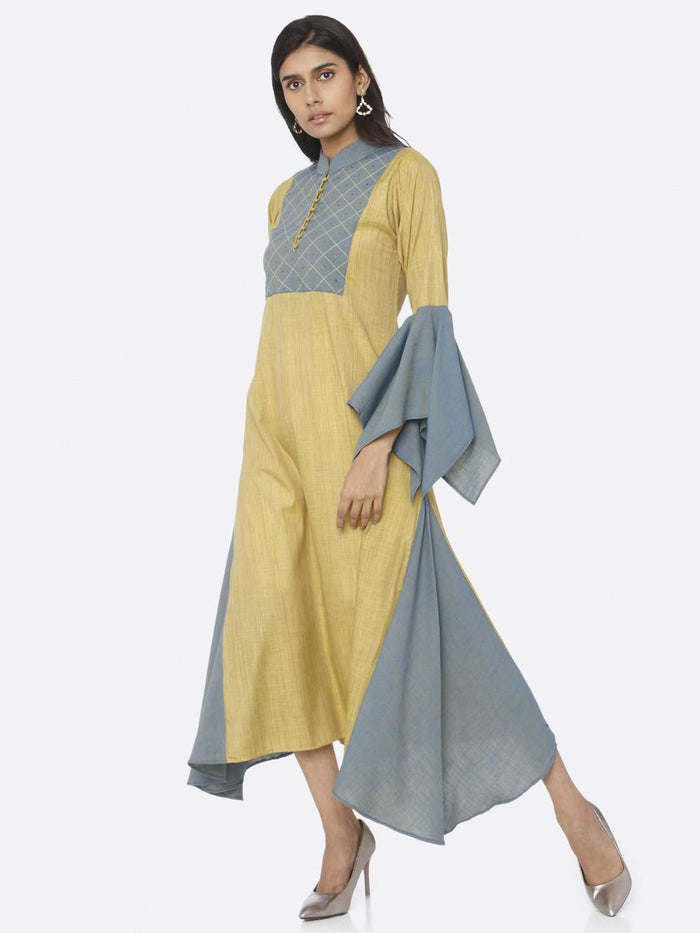 Casual Mustard Embellished Cotton A-Line Dress