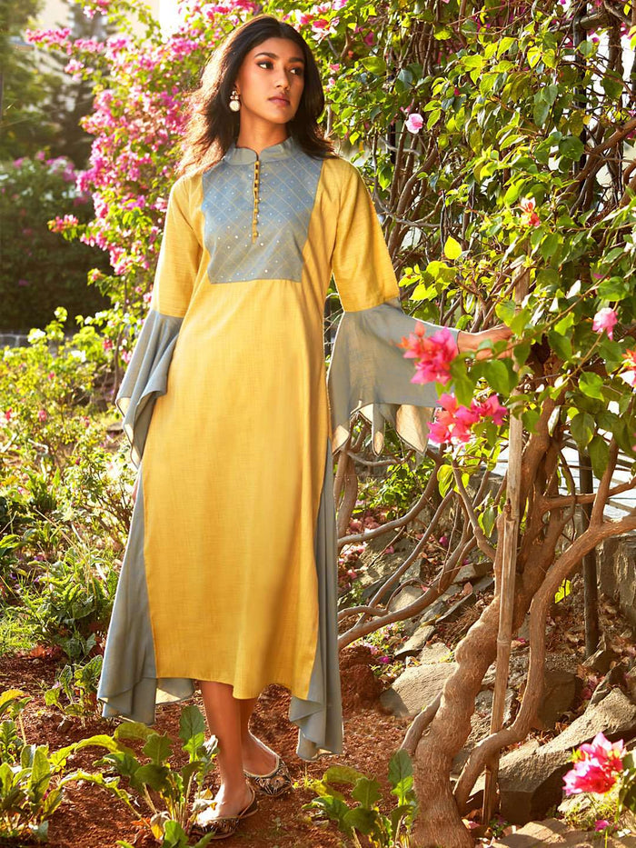 Front Side Mustard Embellished Cotton A-Line Dress