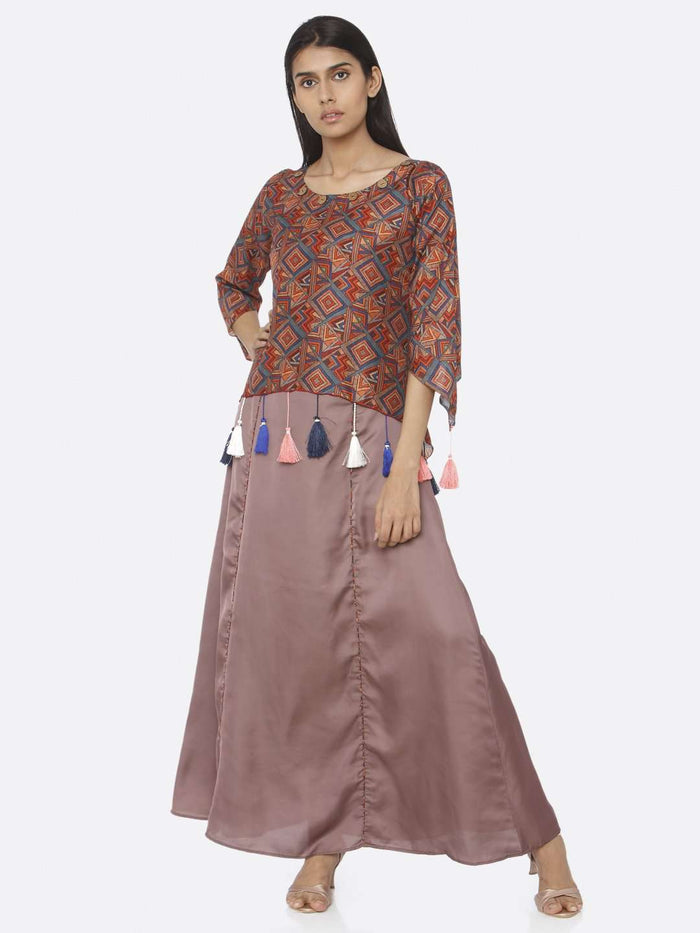 Brown Printed Upada Silk & Satin A-Line Maxi Dress