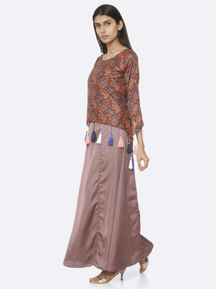 Left Side Brown Printed Upada Silk & Satin A-Line Maxi Dress