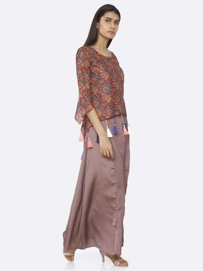 Right Side Brown Printed Upada Silk & Satin A-Line Maxi Dress