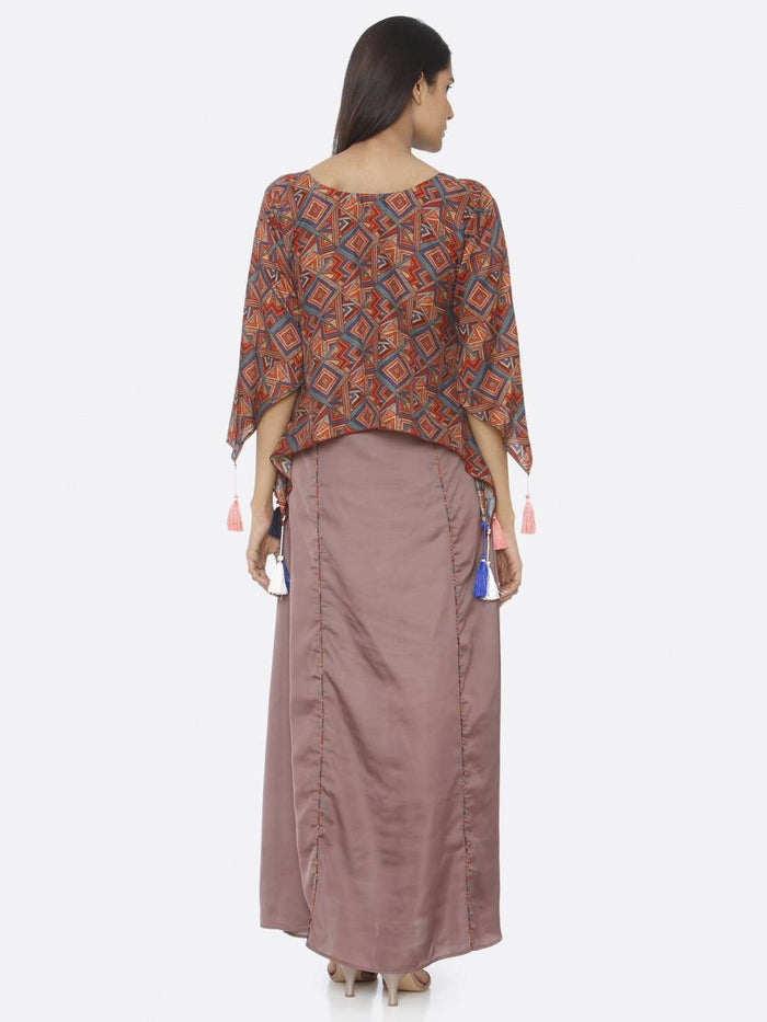 Back Side Brown Printed Upada Silk & Satin A-Line Maxi Dress