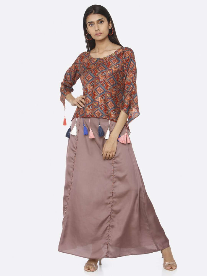 Casual Wear Brown Printed Upada Silk & Satin A-Line Maxi Dress