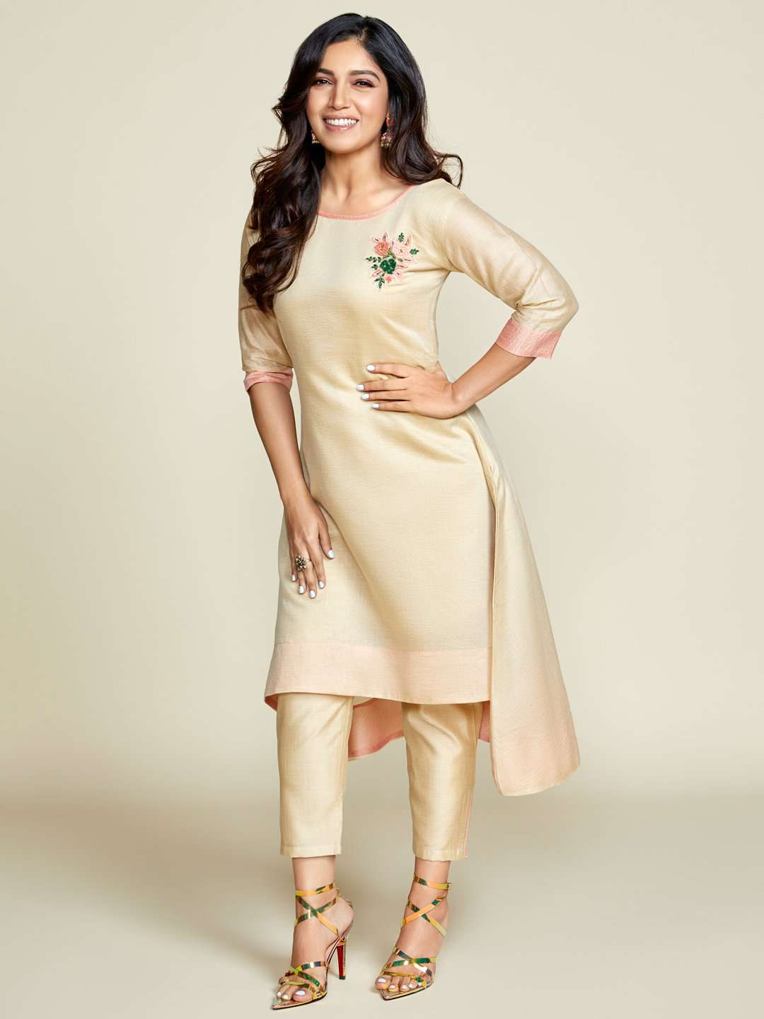 Front Side Cream Embellished Chanderi A-Line Kurta Set